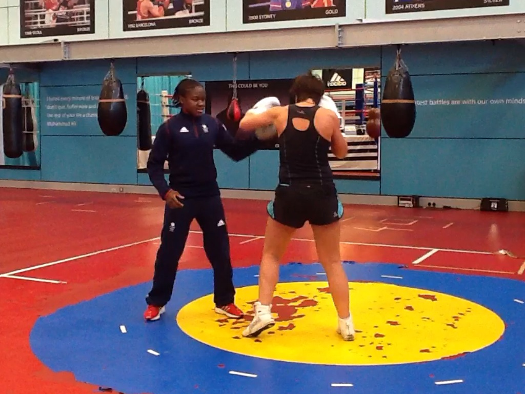 nicola adams sparring in a gym