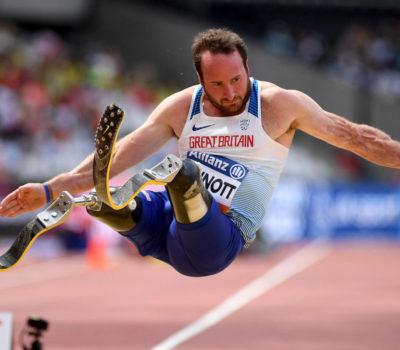 Disabled athlete Luke Sinnott competing